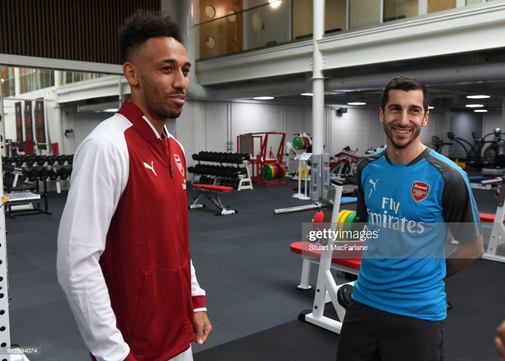 New signing Pierre-Emerick Aubameyang with former Dortmund team mate Henrikh Mkhitaryan at the Arsenal training ground at London Colney on January 31, 2018 in St Albans, England.