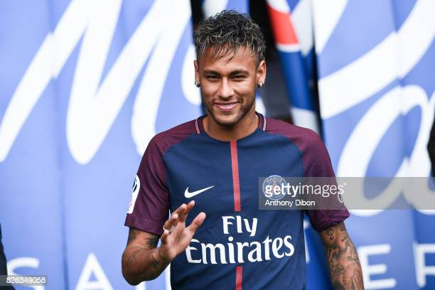 New signing player Neymar during press conference of Paris Saint-Germain at Parc des Princes on August 4, 2017 in Paris, France.