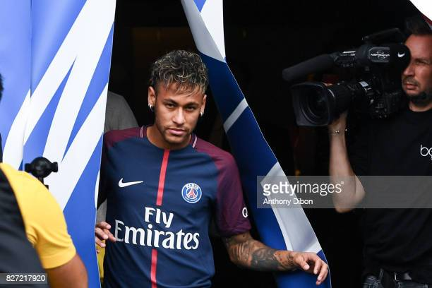 New signing player Neymar during press conference of Paris SaintGermain at Parc des Princes on August 4 2017 in Paris France