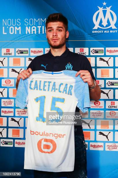 New signing player of Olympique de Marseille Duje Caleta Car during press conference at Centre d'Entrainement Robert Louis Dreyfus on July 20 2018 in...