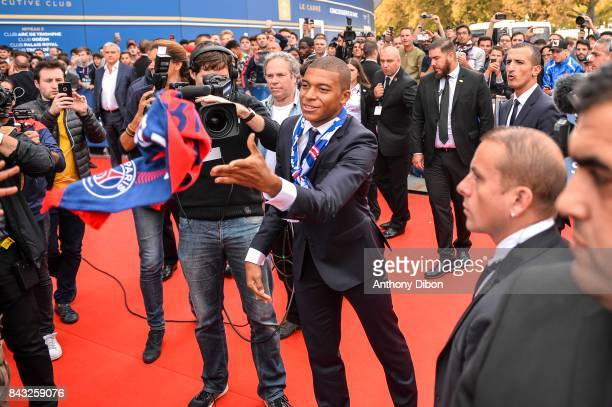 New signing player of Paris Saint Germain Kylian Mbappe with Ultras fans of PSG during press conference on September 6 2017 in Paris France