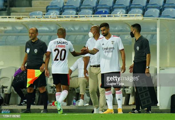 New signing Rodrigo Pinho of SL Benfica enters the pitch for Joao Mario of SL Benfica during the Pre-Season Friendly match between SL Benfica and...