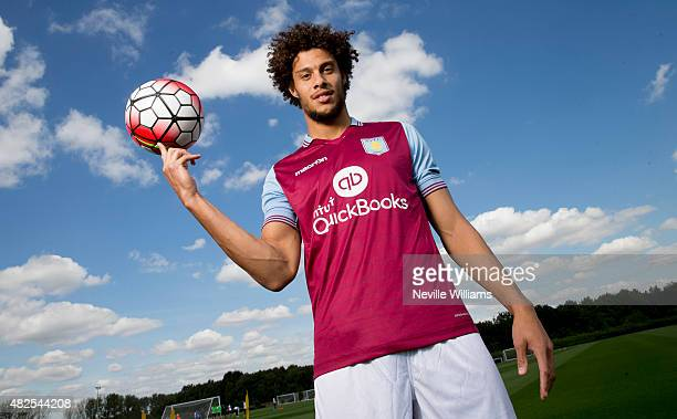 New signing Rudy Gestede of Aston Villa poses for a picture at the club's training ground at Bodymoor Heath on July 31 2015 in Birmingham England