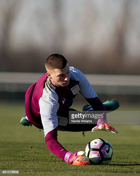 New signing Sam Johnstone of Aston Villa takes part in a training session at the club's training ground at Bodymoor Heath on January 05 2017 in...