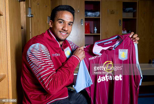 New signing Scott Sinclair of Aston Villa poses for a picture at the club's training ground at Bodymoor Heath on January 28 2015 in Birmingham England