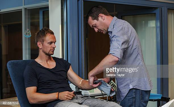 New signing Siem de Jong undergoes his medical with club doctor Paul Catterson The Newcastle United Training Centre on July 01 2014 in Newcastle upon...