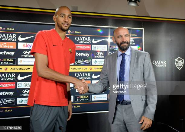 The family of Steven Nzonzi during the press conference at the AS Roma Training Centre on August 16 2018 in Rome Italy