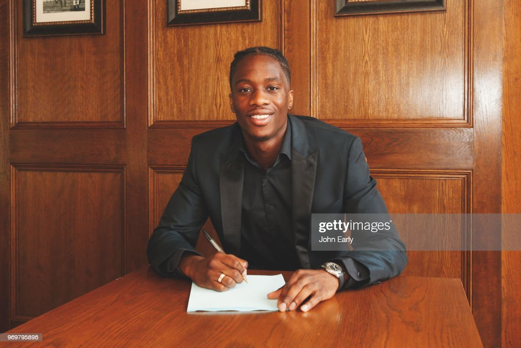 New signing Terence Kongolo joins Huddersfield Town from AC Monaco on June 8, 2018 in Huddersfield, England.