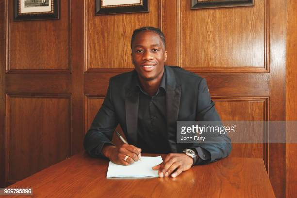 New signing Terence Kongolo joins Huddersfield Town from AC Monaco on June 8 2018 in Huddersfield England