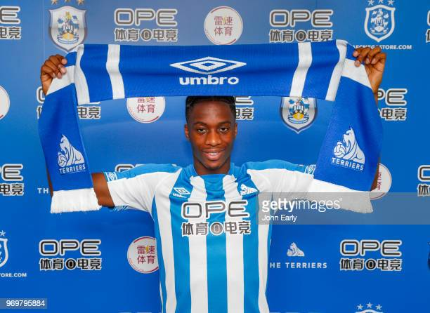New signing Terence Kongolo joins Huddersfield Town from AC Monaco and launches the new Umbro home kit on June 8 2018 in Huddersfield England