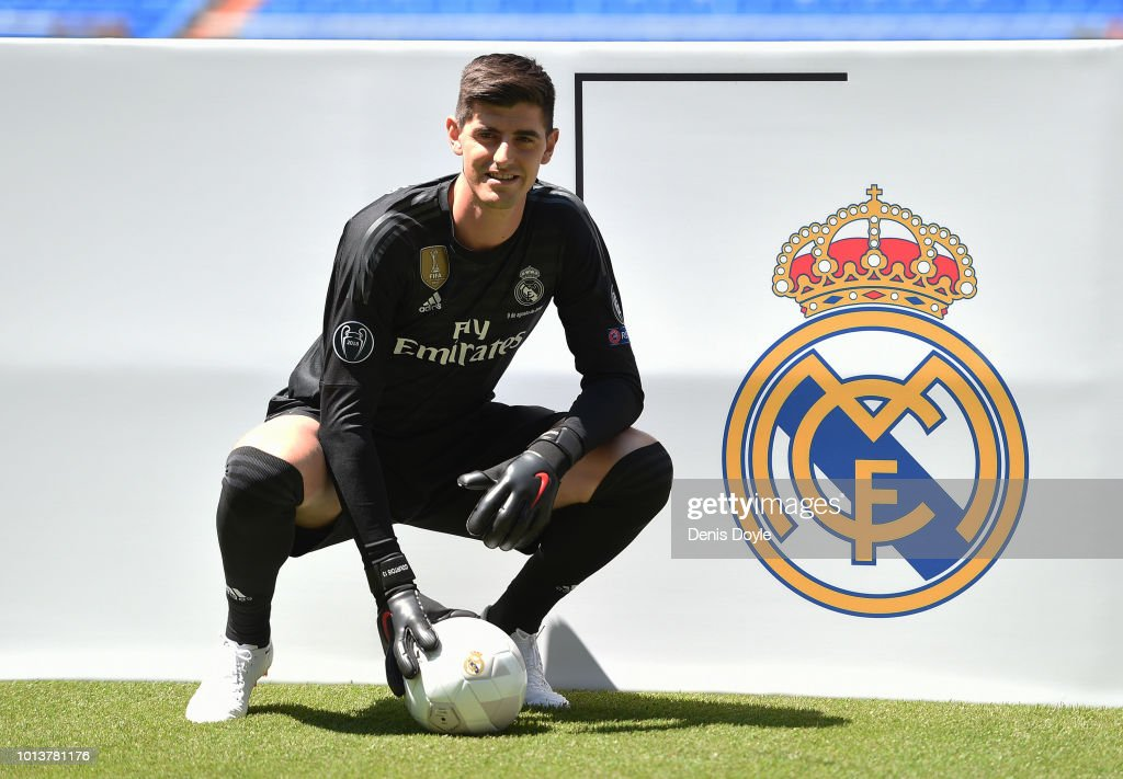 New signing Thibaut Courtois of Real Madrid is presented to fans after he signed a six-year-deal with Real Madrid at Estadio Santiago Bernabeu on August 9, 2018 in Madrid, Spain.