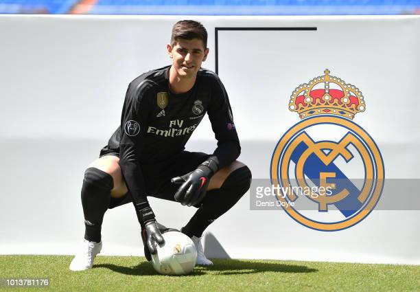 New signing Thibaut Courtois of Real Madrid is presented to fans after he signed a sixyeardeal with Real Madrid at Estadio Santiago Bernabeu on...