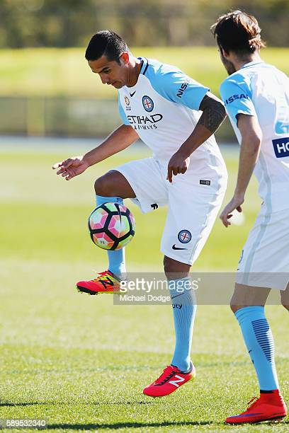New signing Tim Cahill controls the ball during a Melbourne City ALeague training session at La Trobe University Sports Fields on August 15 2016 in...