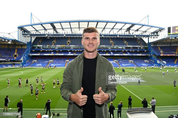 New signing Timo Werner of Chelsea poses for a picture in the stands prior to the Premier League match between Chelsea FC and Wolverhampton Wanderers...