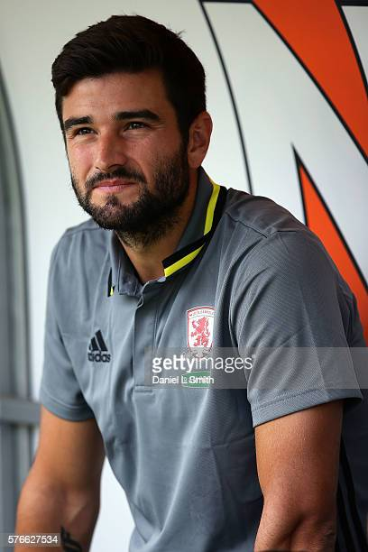 New signing to Middlesbrough Antonio Barragan on the bench prior to the preseason friendly match between Doncaster Rovers and Middlesbrough at...