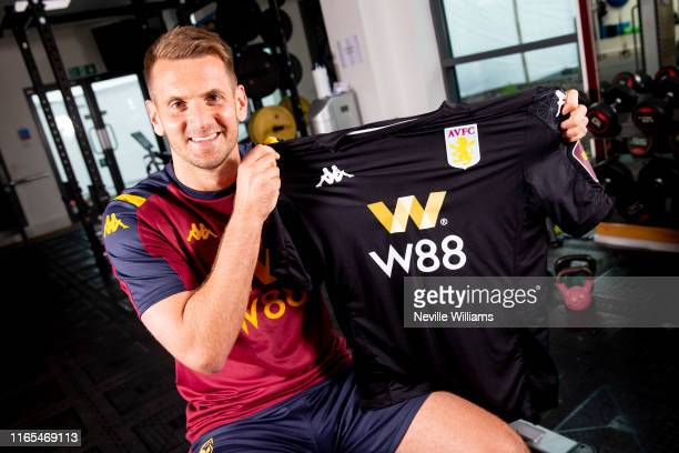 New signing Tom Heaton of Aston Villa poses for a picture at the Aston Villa Bodymoor Heath training ground on August 01 2019 in Birmingham England