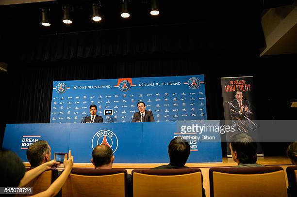 New signing trainer Unai Emery and president Nasser Al Khelaifi during the press conference of Paris Saint Germain at Parc des Princes on July 4 2016...