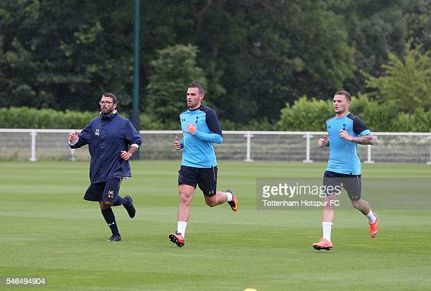 New signing Vincent Janssen of Spurs trains with Kieran Trippier of Spurs at Tottenham Hotspur Training Ground on July 12 2016 in Enfield England