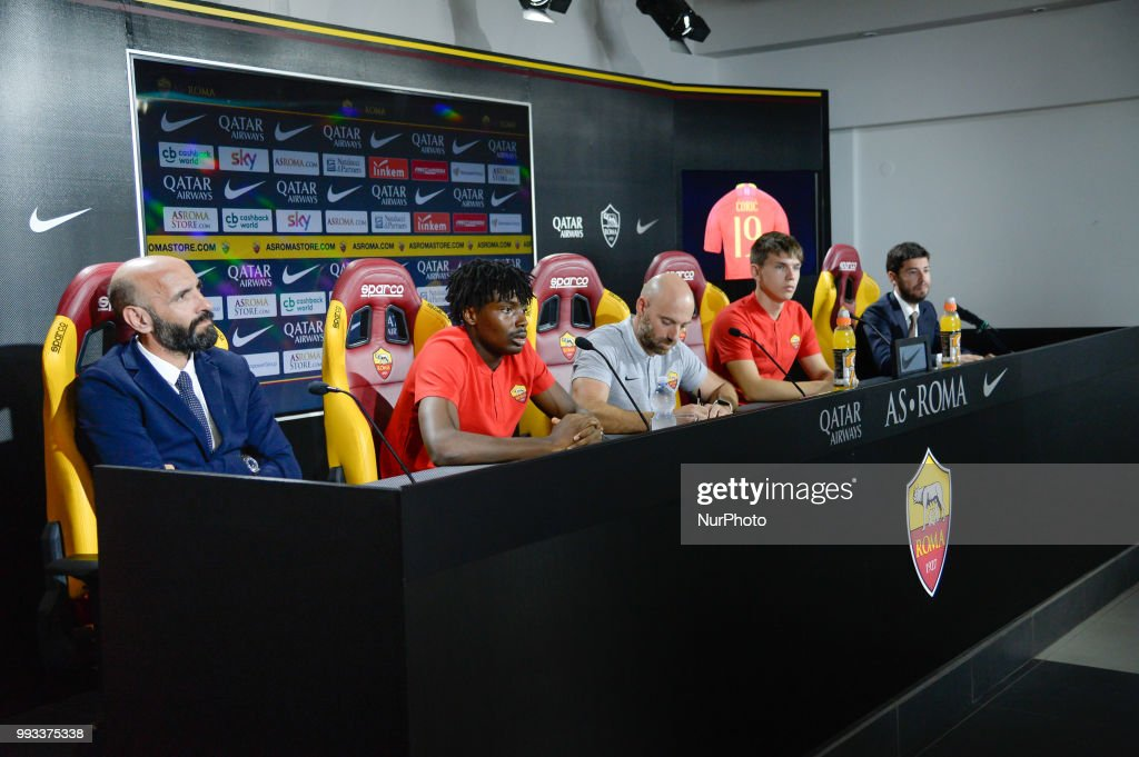 New signing William Bianda, Sport Director Ramon Rodriguez Verdejo Monchi and Ante Coric during the press conference at the AS Roma Training Centre on July 07, 2018 in Rome, Italy.