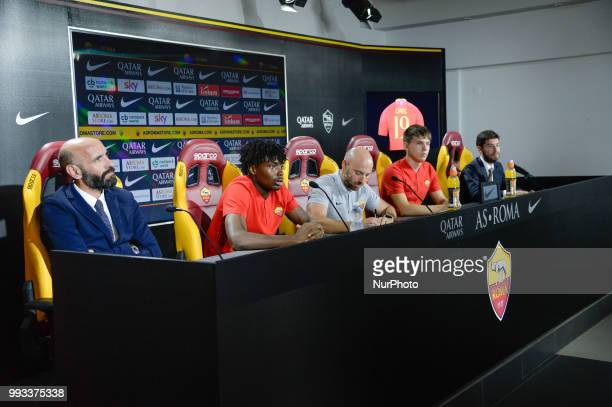 New signing William Bianda Sport Director Ramon Rodriguez Verdejo Monchi and Ante Coric during the press conference at the AS Roma Training Centre on...