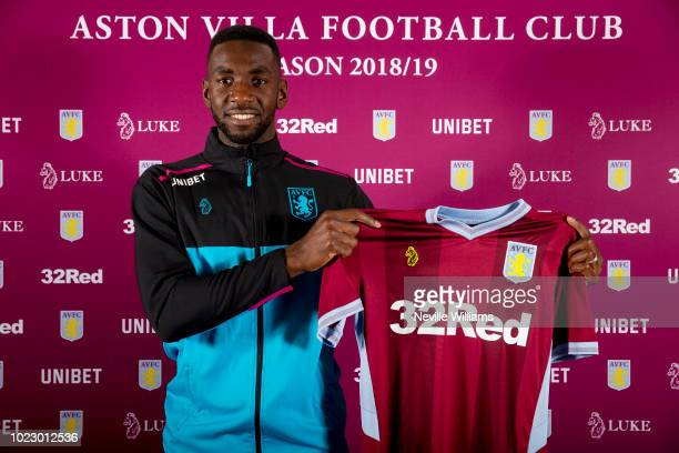 New signing Yannick Bolasie of Aston Villa poses for a picture as he is unveiled as a new signing at the club's training ground at Bodymoor Heath on...