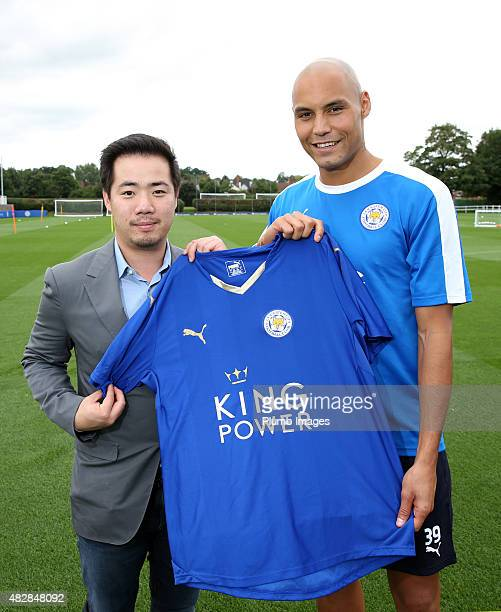 New signing Yohan Benalouane of Leicester City is unveiled by vice chairman Aiyawatt Srivaddhanaprabha at Belvoir Drive Training Ground on August 3...