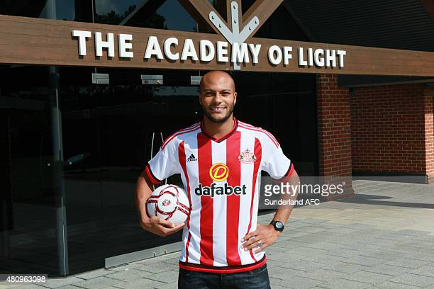 New signing Younes Kaboul of Sunderland poses at The Academy of Light on July 16, 2015 in Sunderland, England.