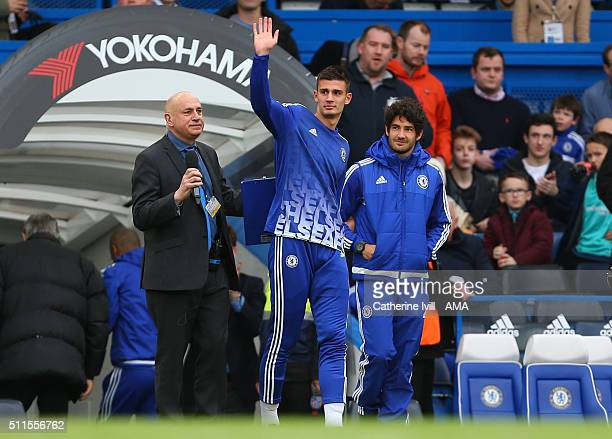 New signings and Matt Miazga and Alexandre Pato of Chelsea are presented to the crowd before the Emirates FA Cup match between Chelsea and Manchester...