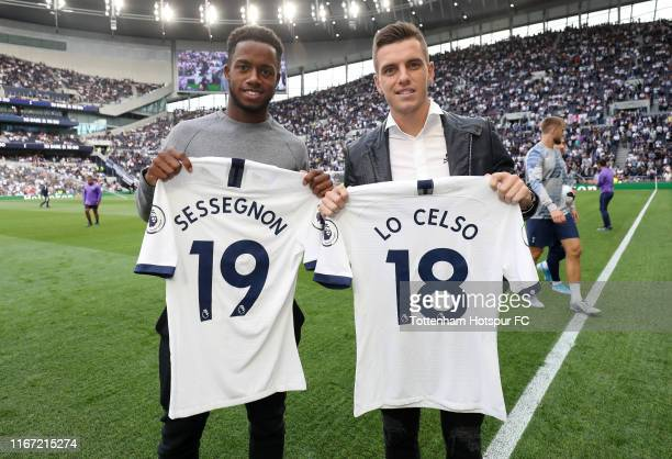 New signings Ryan Sessegnon and Giovani Lo Celso of Tottenham Hotspur pose for a photo prior to the Premier League match between Tottenham Hotspur...