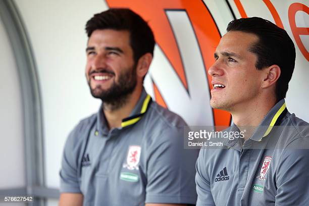 New signings to Middlesbrough Bernardo Espinosa and Antonio Barragan on the bench prior to the preseason friendly match between Doncaster Rovers and...