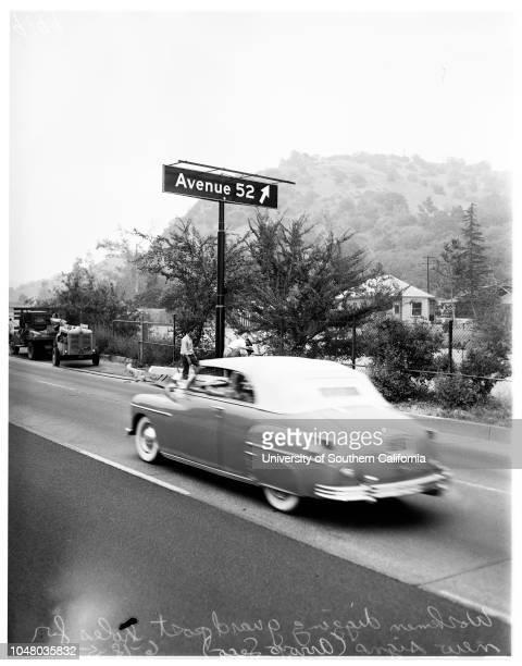 New signs -- Arroyo Seco Parkway, June 18, 1951. Avenue 57 Harmon Avenue;Avenue 52.;More descriptive information with originals..
