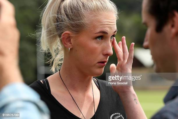 New Silver Fern Michaela SokolichBeatson speaks to media during the New Zealand Netball Commonwealth Games Team Announcement on February 8 2018 in...