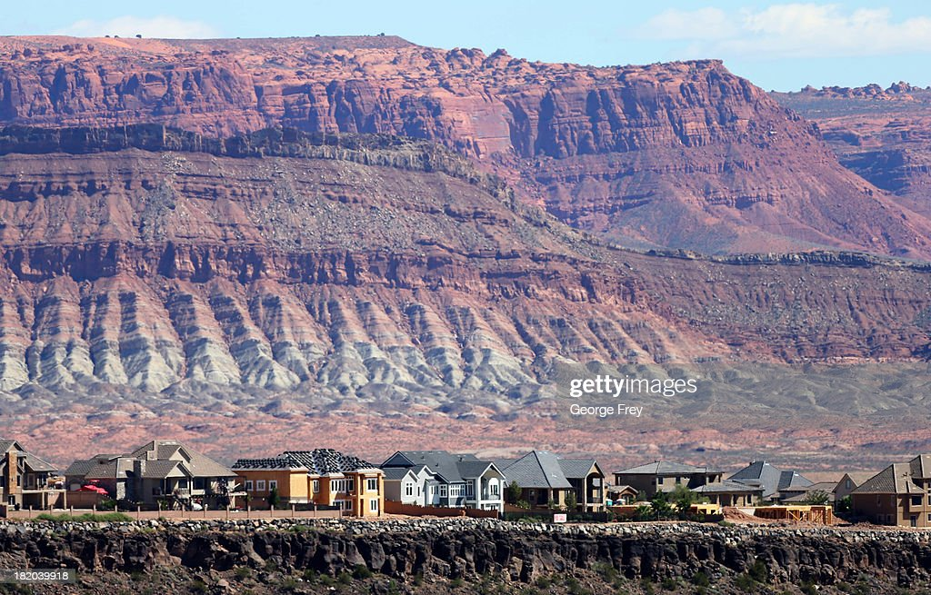 New single-family homes and others under construction are shown on a ridge September 27, 2013 in St. George, Utah. Housing starts on single-family rose at a faster pace in August, and building permits rose to a five-year high, according to published reports this week.