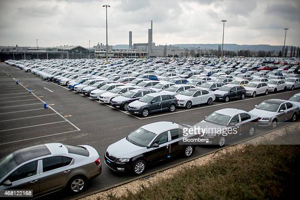 New Skoda automobiles including Citigo Rapid Fabia and Octavia models stand in a parking lot ahead of distribution at Volkswagen AG's Skoda Auto AS...