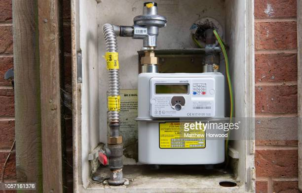 New smart meter installed at a home on October 17, 2018 in Caerphilly, United Kingdom. A smart meter is an electronic device that records consumption...