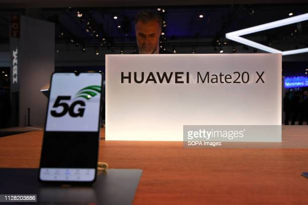 L´HOSPITALET CATALONIA SPAIN New smartphone of the Huawei brand Mate 20 X seen during the Mobile World Congress in Barcelona