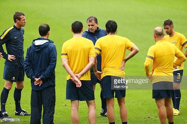 New Socceroos head coach Ange Postecoglou talks to players during an Australian Socceroos training session at WIN Jubilee Stadium on November 12,...