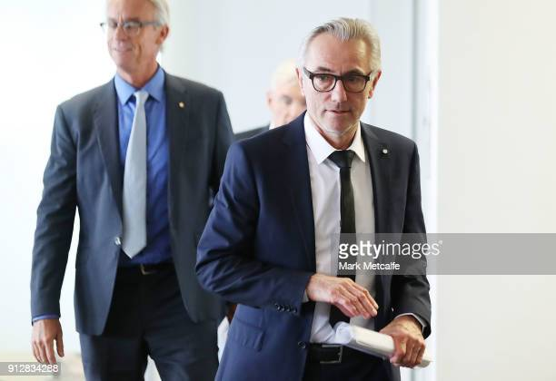 New Socceroos Head Coach Bert van Marwijk arrives for a press conference at FFA Headquarters on February 1 2018 in Sydney Australia