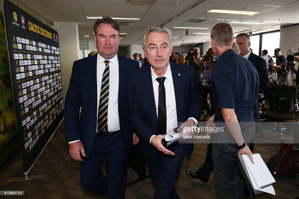 New Socceroos Head Coach Bert van Marwijk departs a press conference at FFA Headquarters on February 1, 2018 in Sydney, Australia.