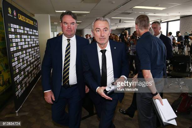 New Socceroos Head Coach Bert van Marwijk departs a press conference at FFA Headquarters on February 1 2018 in Sydney Australia