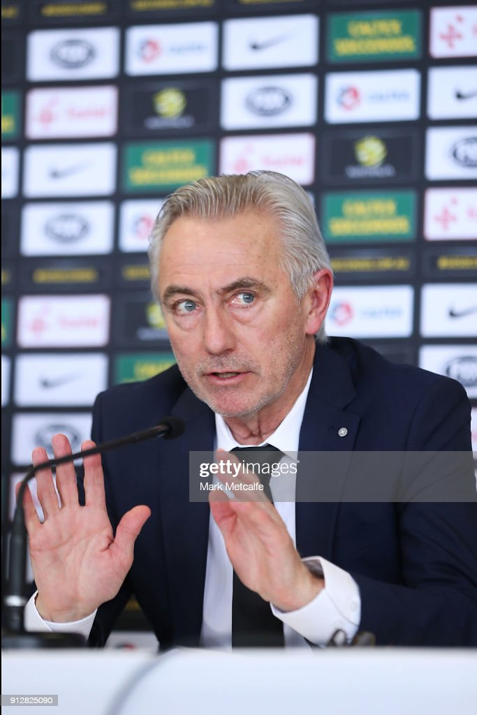 New Socceroos Head Coach Bert van Marwijk speaks to media during a press conference at FFA Headquarters on February 1, 2018 in Sydney, Australia.