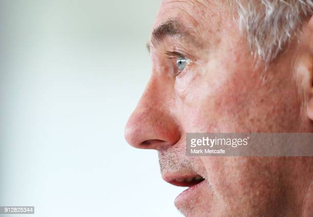 New Socceroos Head Coach Bert van Marwijk speaks to media during a press conference at FFA Headquarters on February 1 2018 in Sydney Australia