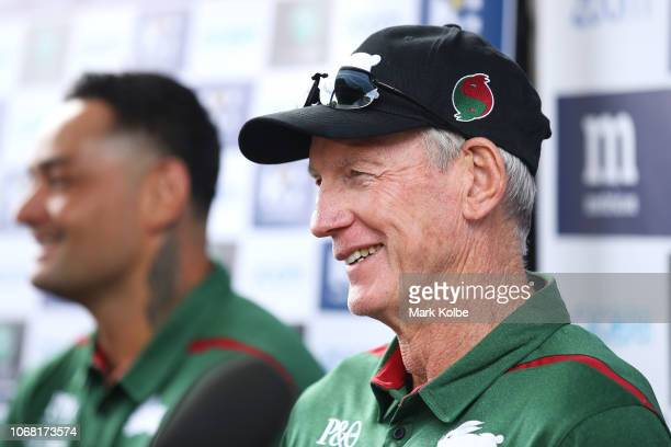New South Sydney Rabbitohs Coach Wayne Bennett laughs as he speaks to the media during a NRL press conference at Redfern Oval at Redfern Oval on...