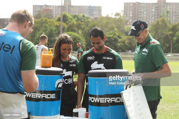 New South Sydney Rabbitohs Coach Wayne Bennett shares a joke with the trainers during a Sydney Rabbitohs training session at Redfern Oval at Redfern...