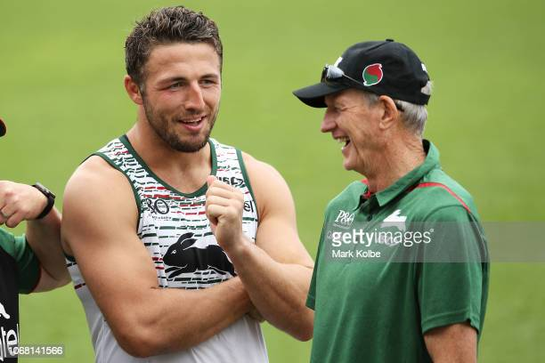 New South Sydney Rabbitohs Coach Wayne Bennett shares a laugh with Sam Burgess after a Sydney Rabbitohs training session at Redfern Oval at Redfern...