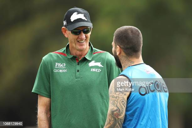 New South Sydney Rabbitohs Coach Wayne Bennett speaks Adam Reynolds during a Sydney Rabbitohs training session at Redfern Oval at Redfern Oval on...