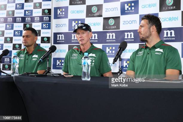 New South Sydney Rabbitohs Coach Wayne Bennett speaks to the media with John Sutton and Sam Burgess during an NRL press conference at Redfern Oval at...
