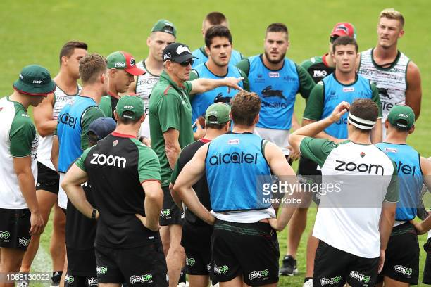 New South Sydney Rabbitohs Coach Wayne Bennett speaks to the players during a Sydney Rabbitohs training session at Redfern Oval at Redfern Oval on...