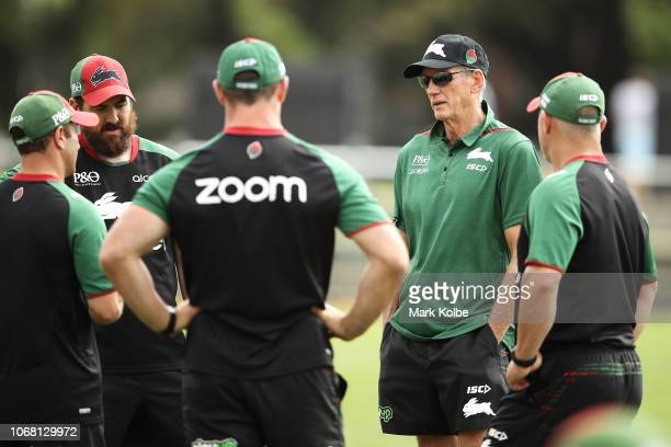 New South Sydney Rabbitohs Coach Wayne Bennett speaks to the training staff during a Sydney Rabbitohs training session at Redfern Oval at Redfern...