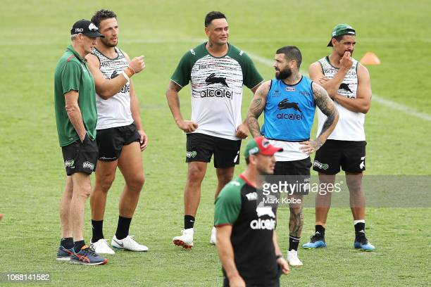 New South Sydney Rabbitohs Coach Wayne Bennett speaks with Sam Burgess John Sutton Adam Reynolds and Cody Walker during a Sydney Rabbitohs training...